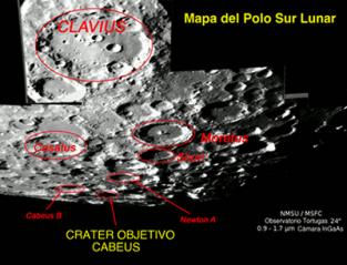 Crater objetivo del impacto, Cabeus